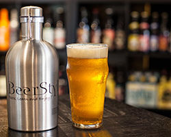 beerstyles growler with beer glass